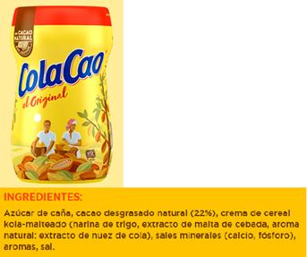 Ingredientes Colacao